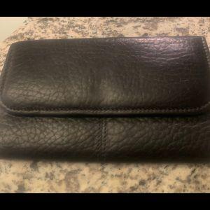 Coach black matte leather wallet